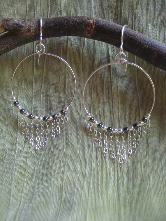 Earrings - Hoop with Dangle Sterling Silver Chain, Hematite, and Sterling Silver Beads  - Jewelry by Jyoti McCall