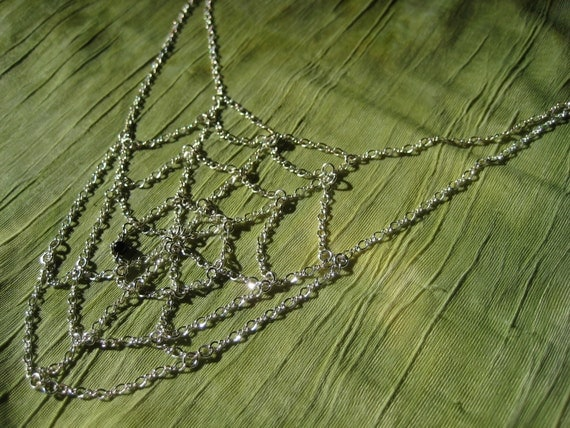 Gothic Bib Necklace - Sterling Silver Chain Spiderweb with Black Onyx - Modern Jewelry by Jyoti McCall