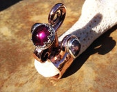 Swan Ring of Samovila...OOAK handmade artisan Copper and Amethyst spiral ring of legend set with teardrop Iolite cabochons