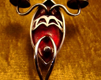 Bloodlamp Sconce...OOAK Brooch & Pendant of handmade Sterling Silver and deep red casting resin