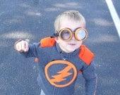 Children's fleece superhero jaket with attached cape - Kid Lightning