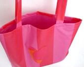 Marimekko Bag Pink Heart - Shopping Tote Medium - Oil Cloth