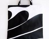 Marimekko Shopper - Tote Bag - Oil Cloth - Black and White - Large - Floral