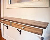 Floating Entry Table - Made to Order - Modified IKEA shelf with two drawers - Porcelain insulator pulls