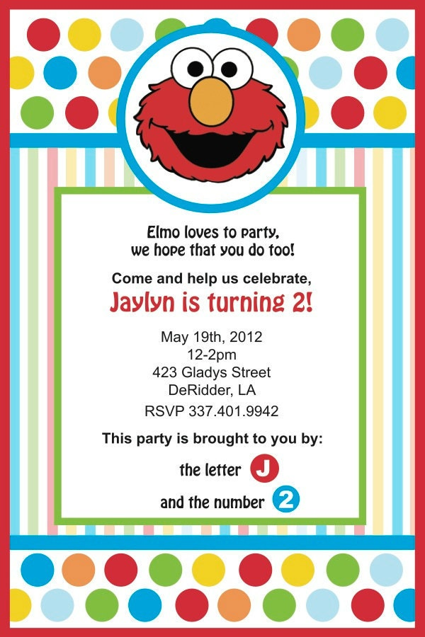 Elmo birthday invitation pdf for Elmo template for invitations
