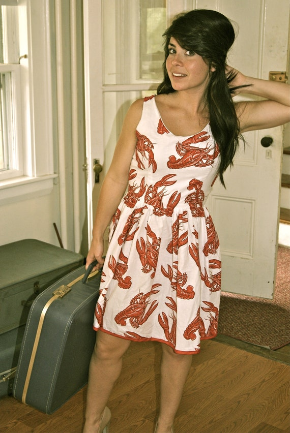 Reserve for Katie-Women's red and white lobster dress (Made to order)