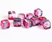 Dollar Sale Clearance - 5x7mm Cube Czech glass beads pink and purple - 10 pieces  (051)