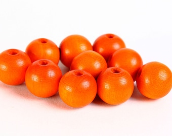 Sale Clearance 20% OFF - Round Czech wood beads orange 10mm 10pc  (065)