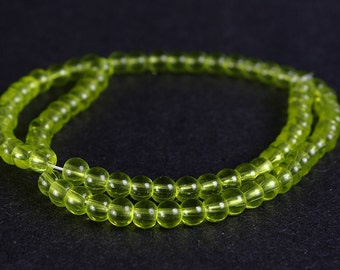 Strand lemon green round glass bead 4mm 80pc (329) - Flat rate shipping