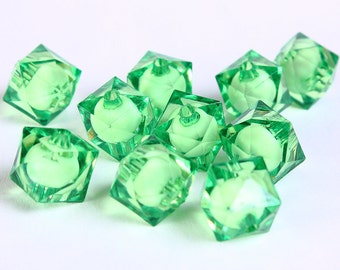 12mm Green miracle beads - bead in bead - faceted cube beads - Gumball Bead - Clear beads - Gum ball beads (442) - Flat rate shipping