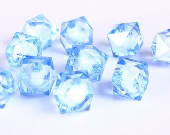 12mm blue miracle beads - bead in bead - faceted cube beads - Gumball Bead - Clear beads - Gum ball beads (445) - Flat rate shipping