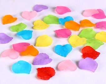 Mixed color frosted leaf beads -  leaves resin beads - mixed color beads - 16mm x 15mm (642) - Flat rate shipping