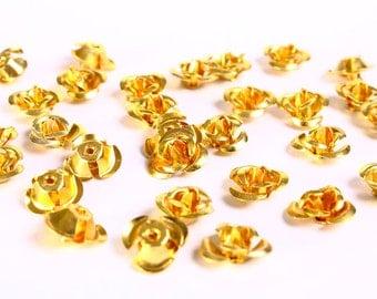 30 12mm gold yellow rose flower aluminum cabochon bead 30pcs (685) - Flat rate shipping