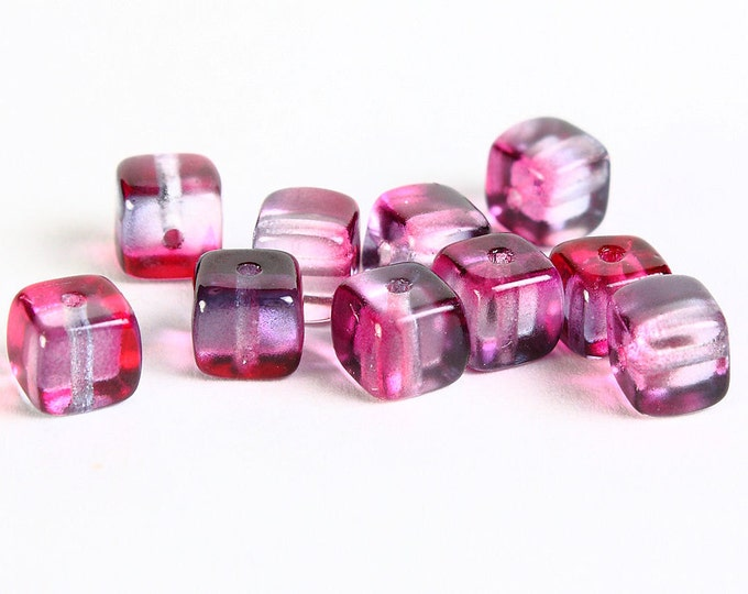 Dollar Sale Clearance - 5mm x 7mm Cube Czech glass beads pink and purple - 10 pieces  (051)