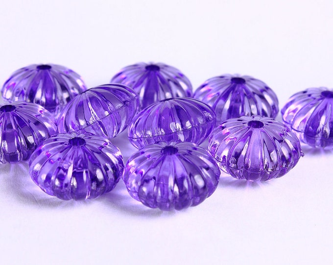 14mm x 9mm Purple melon beads - Purple mauve beads - Purple oval beads - 10 pieces (263) - Flat rate shipping