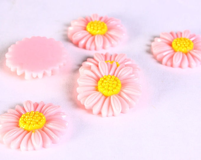 6pc 27mm lucite rose resin flower cab cabochon daisy pink 6 (630) - Flat rate shipping