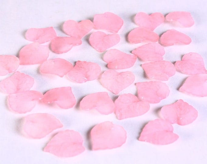 Pink leaves beads - Pink frosted leaf beads - 16mm x 15mm - 30 pieces (643)  - Flat rate shipping