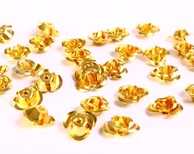 30 12mm gold yellow rose flower aluminum cabochon bead 30pcs (685) - Flat rate shipping