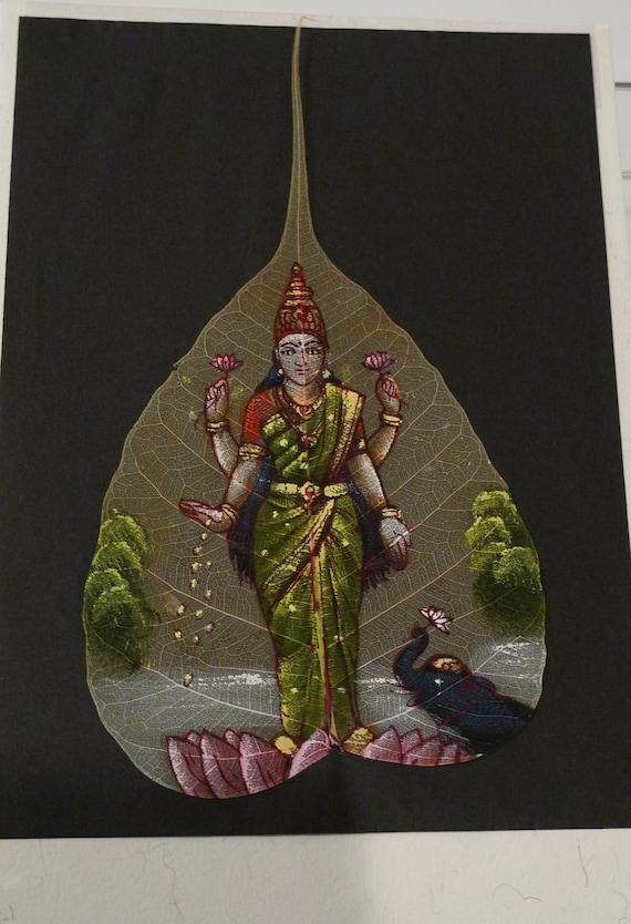 Goddess Indian Painting Lakshmi Deity Peepal Leaf Bodhi Tree Sacred Hindu Hand Painted Kerala India Souvenir Card Folk Art FREE Ship