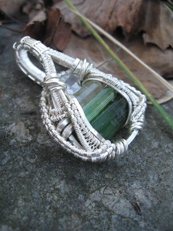 Stacked Wire Wrapped Pendant Tourmalines and a Herkimer Diamond in Sterling and Fine Silvers