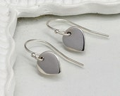 Sterling Silver Lotus Petal Earrings, Silver, Teardrop, Simple, Tiny, Delicate, Everyday, Zen, Yoga, Wedding, Bridesmaid