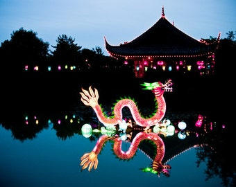 Chinese dragon photo, year of the dragon, neon pink water dragon, chinese lanterns, dusk blue turquoise fantasy chinese zodiac