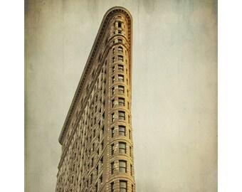 Flatiron Building photo, urban decor, NYC New York City landmark, Manhattan architecture skyscraper, brown golden