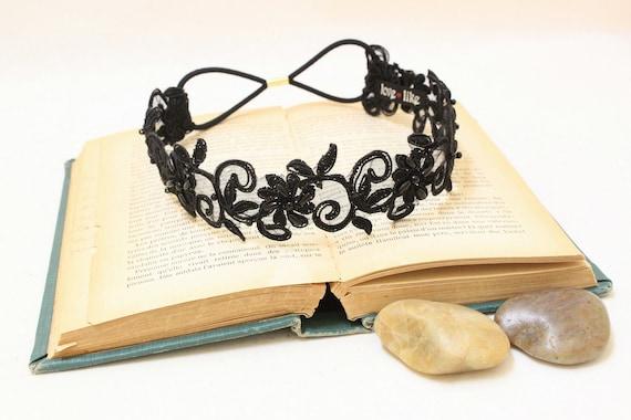 Black Beaded Lace Elastic Headband, Bridal Black Headband, Bridesmaid Headband,Boho Elastic Headband,Black Lace Hair Band