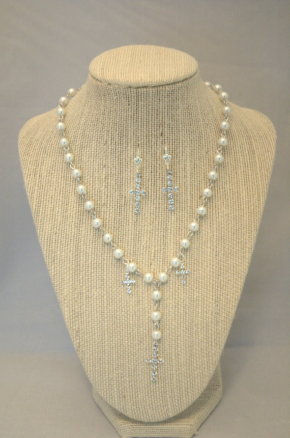 Rosary Style Pearl and Rhinestone Necklace and Earring Set-Bridal jewelry-Cross Necklace and Cross earring Set