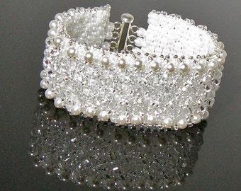 "Vintage Inspired White Crystal Bridal Cuff Bracelet-Karen's Crown ""Heavenly Sparkle"""