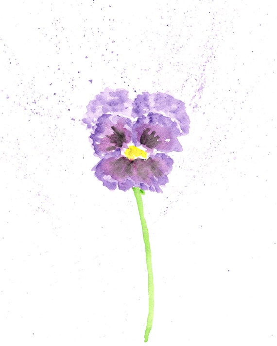 watercolor flower painting flower art pansy flower abstract