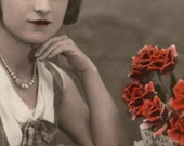 VALENTINE card // Vintage photo // Romantic Lady with red roses
