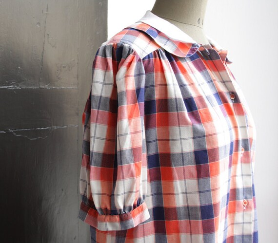 RESERVED-Italian vintage PlaID CoTtOn ShiRT // DouBLe peter pan collar