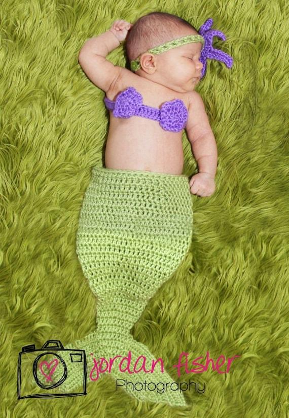 LITTLE MERMAID crochet newborn photo prop set mermaid tail seashell top and starfish headband