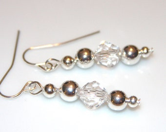 Crystal and Silver Dangle Earrings   SALE