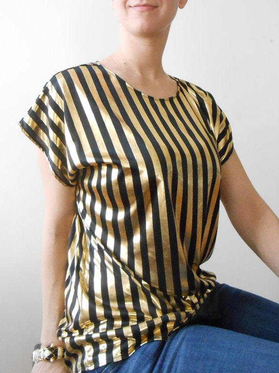 Liquid gold SLOUCHY SLINKY striped vintage top - 80s