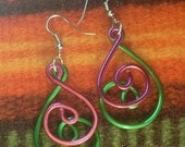 Medium COLOR LOOP Earrings made with Aluminum Wire - VERY Light to wear - Bring Summer to your look