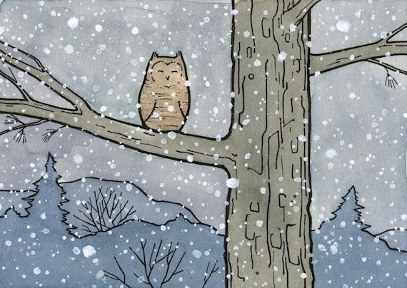 Owl Illustration in snow Print 5x7
