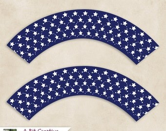 Graphic Design - Patriotic - 4th of July - Independence Day Party - Stars Cupcake Wrappers - DIY Printable