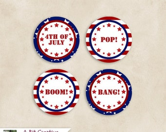 Graphic Design - Patriotic - 4th of July - Independence Day Party - Cupcake Toppers - DIY Printable