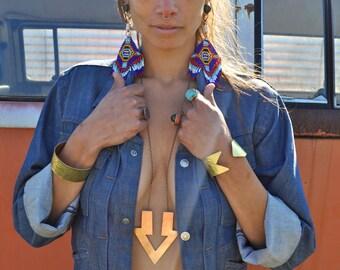Goddess of Babylon  //  Double Arrow Brass Necklace