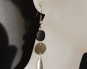 Black Onyx Earrings -- Mod Round Earrings, Matte Onyx , Silver Spikes, Silver Circles