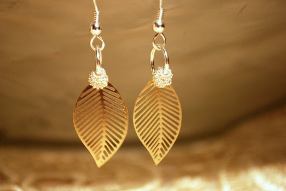 Gold Leaf Earrings -- Precious Gold Leaves, Silver Metallic Wire Beads, Light as a Feather Dangles