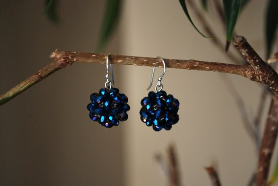 Blue Crystal Earrings -- Blue Crystal Balls, Silver