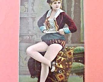 Darling Victorian Era Scrap-Unusual Show Girl Dancer