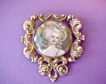 Beautiful Antique French Rococo Style Dress or Fur Clip with Marie Antoinette