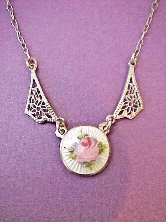 Wonderful 1920's Child's Art Deco Era Sterling Silver Filigree Necklace with Guilloche Enamel Rose