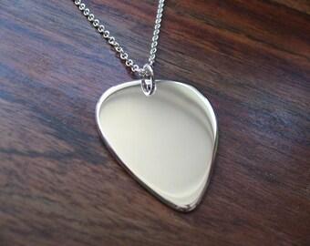 Plectrum Silver Pendant Necklace