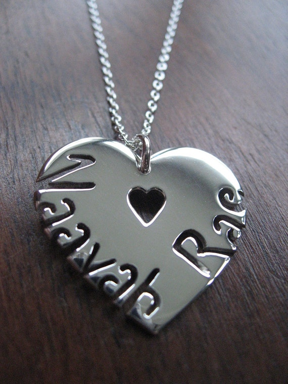 Heart with two names Silver Pendant Necklace