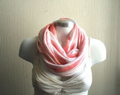 Circle scarf. Unisex Infinity scarf, cowl, scarf,  washed coral cotton jersey, light and cozy,EXTRA WIDE.READY To SHIp.